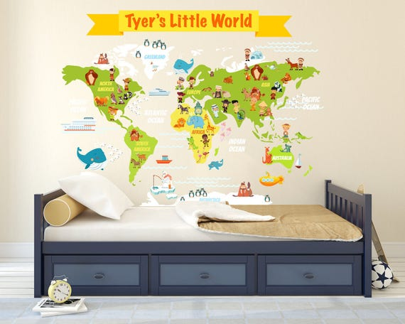 Kids room world map wall decal large world map wall decal for Kids room world map