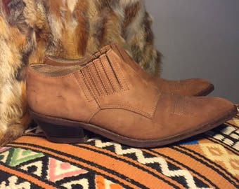 Vintage western ankle boots/booties/brown/tan/Size:7.5