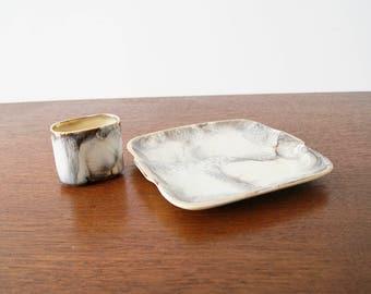 Mid century ceramic set, organising shell, smoking set