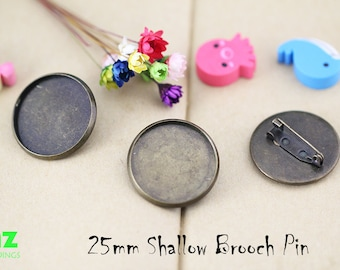25mm Brooch Blanks Shallow Plated Brooch Blank Round Cabochon Settings Blanks--Pin Back Buttons Blank-N colors and NQty