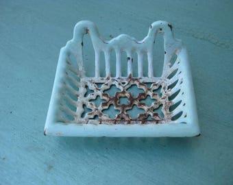 Vintage light green  cast iron soap dish