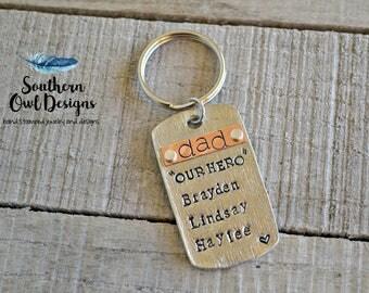 dad keychain, hand stamped dad keychain, personalized dad keychain, dad dogtag keychain, dad, our hero keychain, father's day gift