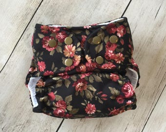 Cloth Diaper *One size or Newborn* All in two, Pocket, or Cover **Vintage Roses**