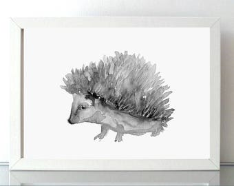 Hedgehog portrait - hedgehog art - set of 2 prints - watercolor hedgehogs art - anima painting - illustration hedgehog black and white