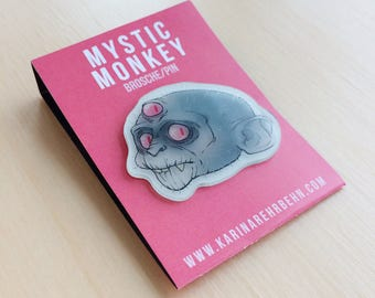 Mystic monkey glow in the dark brooch