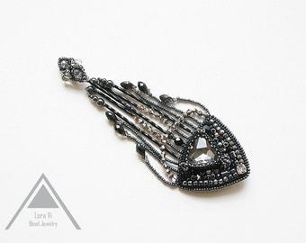 Embroidered black brooch geometric cristal triangle brooch all black jewelry beaded epaulet fashion brooch black long fringe vintage design