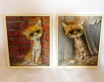 Pair of Gig Pity Kitty kitsch pictures – original from the 1960s