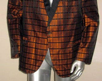 sz large vintage 50s black and rusk plaid print after six tuxedo jacket
