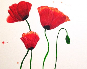 Red Poppy Original Watercolor Painting, Flower painting, Red Flowers, Wall Art, Red and White, Poppy Flower, Poppy Flowers, 8x10