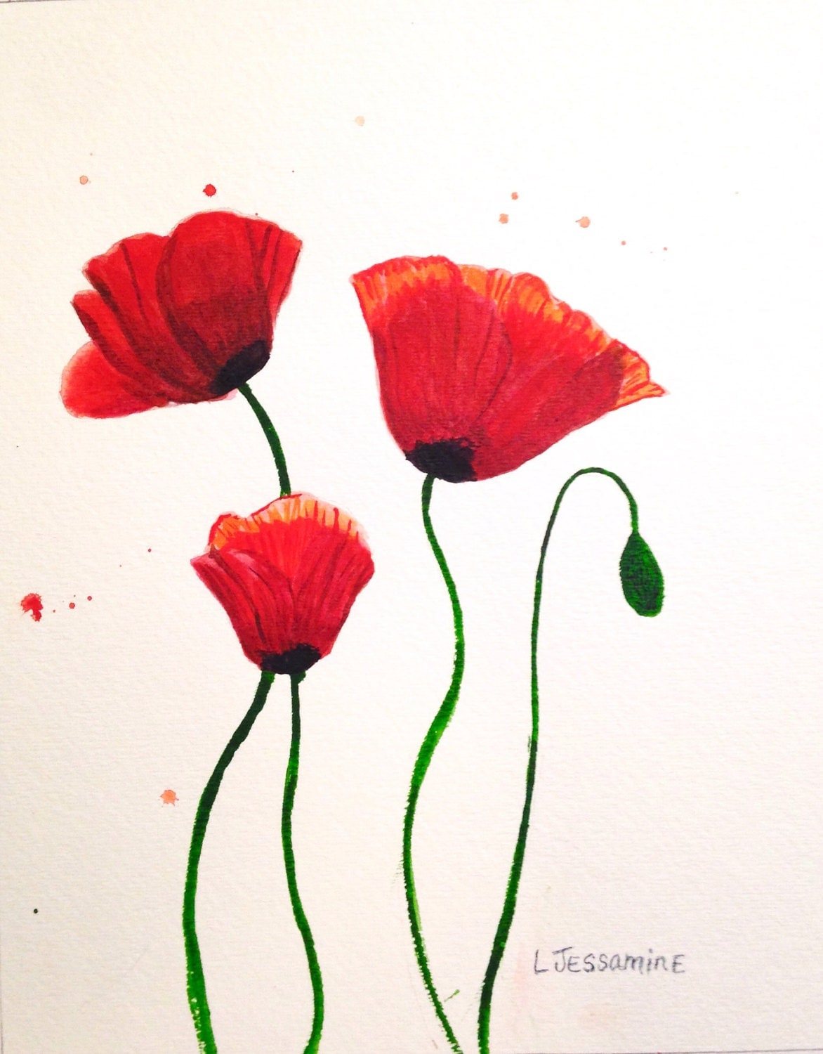 Poppy Flowers Watercolor Painting | www.pixshark.com ...
