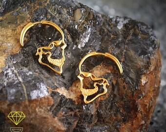 Sterling Silver Gold plated skull earrings