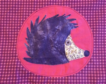 Pillowcase - Hedgehog with pinks and purples