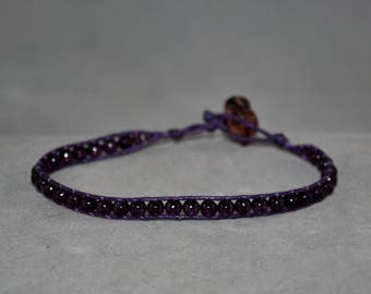 purple beaded wrap bracelet