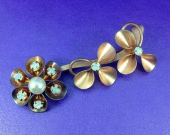 Vintage Copper Brooch, Faux Pearl Brooch, Milk Crystals, Flower Brooch, Vintage Gift