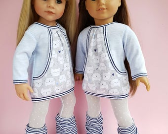 18 inch  Doll Clothes. Clothes - Fits American Girl Doll.  Leggings. Dress. Gaiters. Set of 3pcs. Gotz doll clothes.