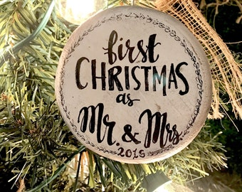 Our First Christmas, Wedding Christmas Ornament, Couple's First Christmas, First Christmas Ornament Married, Rustic Christmas Ornament, Farm