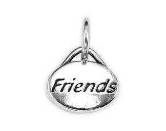 "Sterling Silver ""Friends"" Message Charm"
