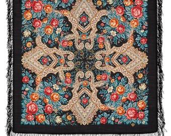 "russian scarf babushka 35""  wool overlocked  genuine Pavlovo Posad new with tag"