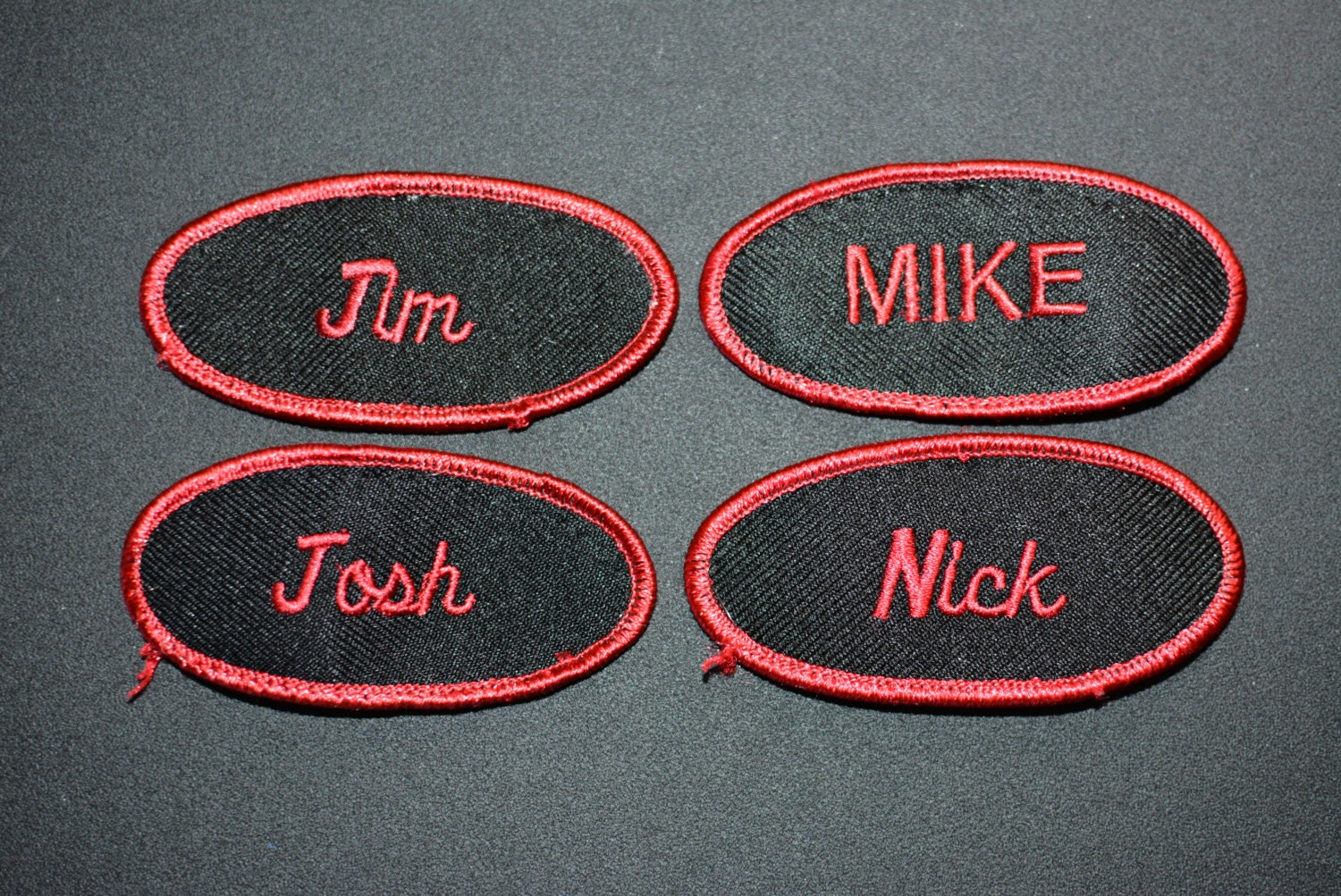 Red on black embroidered clothing name patch for mechanic for Mechanic shirts custom name patch
