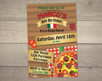 Pizza Party Invitation , Pizza Birthday Invitation , Pizza Party Invite , Italian Birthday Invitation -digital file. FREE Thank You card!