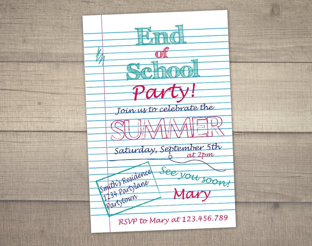 End of School party invitation, Summer party invitation , School\'s ...