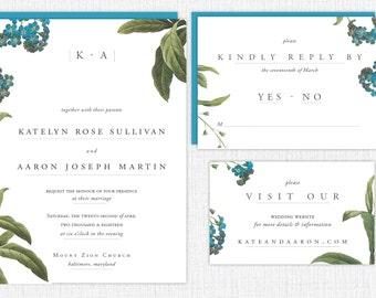 Custom Botanical Wedding Invitation
