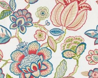 SCALAMANDRE COROMANDEL EMBROIDERY Jacobean Linen Fabric 10 Yards Bloom Multi