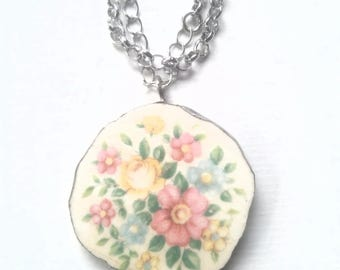 Handmade circle broken china floral flower pink yellow blue bouquet necklace for women ooak spring pendant