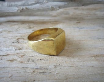 Pinky ring, ring, ring brass square chavalier unisex male, women's ring