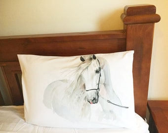 "Horse pillow Premium Percale Pillow Case ""Big Grey"""