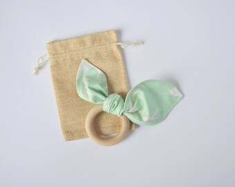 Natural Wood Teething Ring. Stag Print Teether in Mint. Untreated Teething Ring, Baby Gift, Natural Wood Teether, Maple Teething Ring.