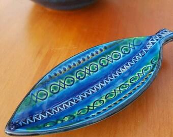 Bitossi Rimini Blu Pin Dish or Tray Fish Shape Mid Century Retro Ceramic