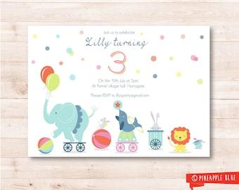 Circus invitation | Kids invitation | Birthday party invitation | Circus party