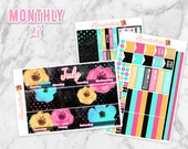 July Moon Flower Monthly Overview Planner Sticker kit for Erin Condren Life Planners