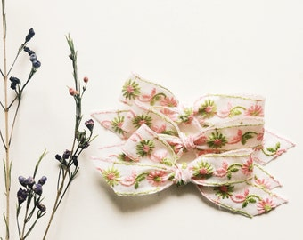 Vintage hand tied bow [ pink and green floral ]