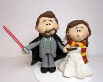 Star Wars and Harry Potter themed Wedding cake topper, Personalised bride and groom Cake topper, custom wedding,