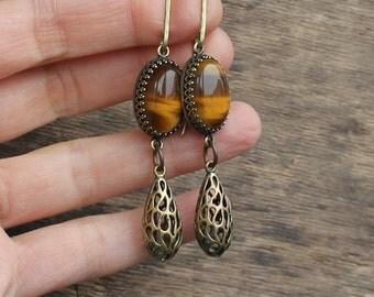 Brass tigereye earrings gemstone earrings long earrings boho earrings dangle earrings vintaj style earrings rustic jewelry rustic earrings