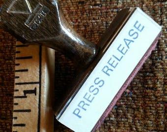 Vintage rubber office stamp: press release