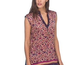SCT059 - Block printed silk tunic