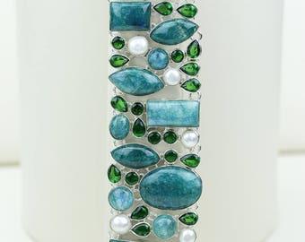 Rare Green Moonstone Peridot Pearl 925 S0LID Sterling Silver Bracelet B2667