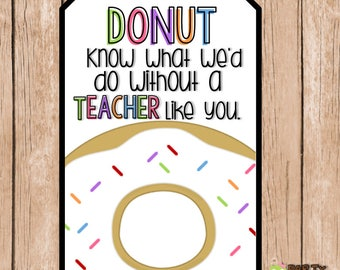 Teacher Appreciation,  End of the Year,  Donut Gift Tags, Printable Download