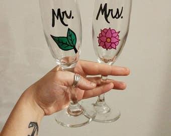 Mr. & Mrs. Champagne flute set