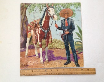 "Vintage 1950s Children's Western jigsaw puzzle - Cisco Kid and his horse Diablo. 11"" x 10 1/4"". #702"