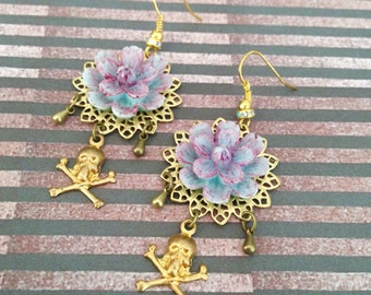 Blue purple flower print gold and skull earrings