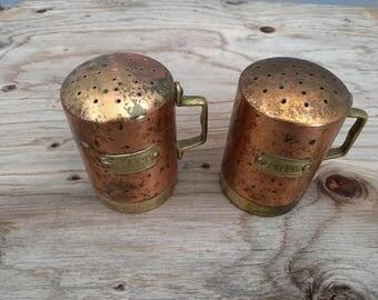 Vintage Copper Salt & Pepper Shakers