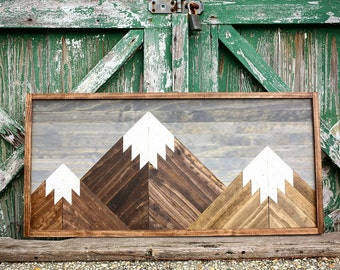 Rustic Mountains Wood Wall Art, Western Mountain Art