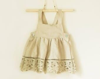 Sale | Sage Green Linen Baby Dress, Linen Baby Clothes, Neutral Baby Clothes, Lace Baby Clothes, Infant Dress, Sitter Outfit, 12 Months
