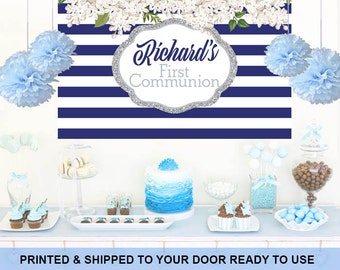 Spring Flowers Baby Shower Backdrop - Religious Cake Table Backdrop -First Communion Backdrop, Personalized Photo Backdrop, Printed Backdrop