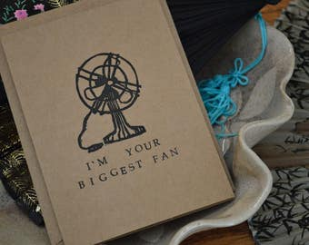I'm Your Biggest Fan: Punny Blank Card - Hand Stamped