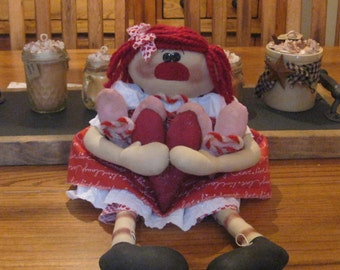 Raggedy Ann Doll - Raggedy Doll Shelf Sitter - Valentines Day Doll  - Whimsical  Doll - Mothers Day Decoration- FAAP~HAFAIR~TEAMHAHA